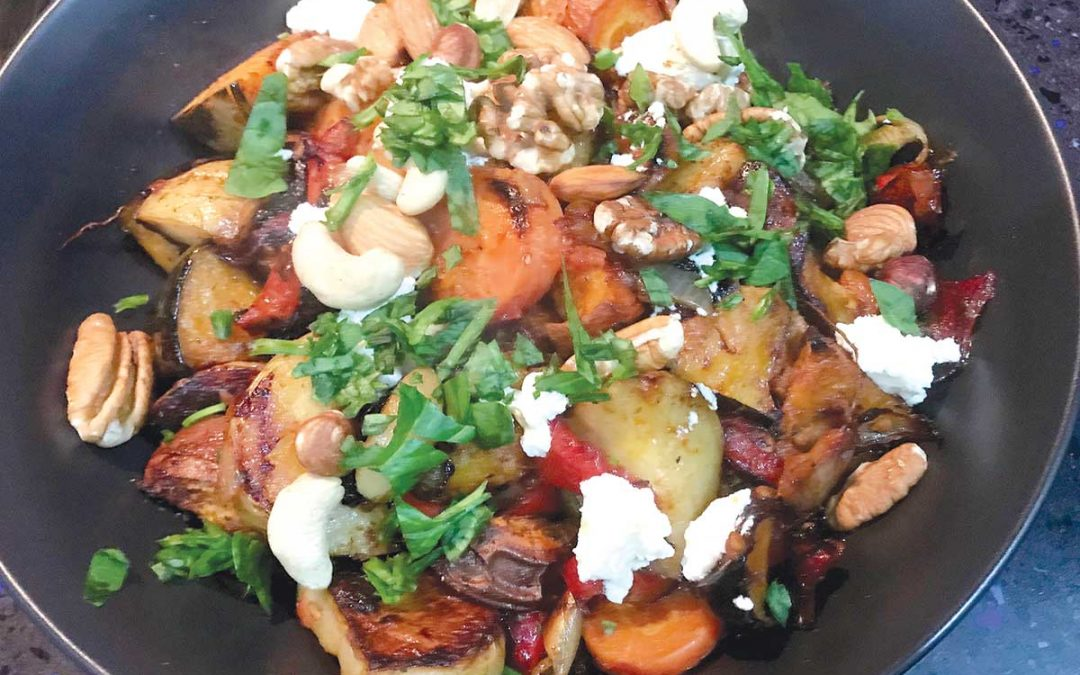 baked root vegetables with nuts and goats' cheese